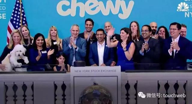 美国宠物电商Chewy上市:大涨近60% 市值140亿美元