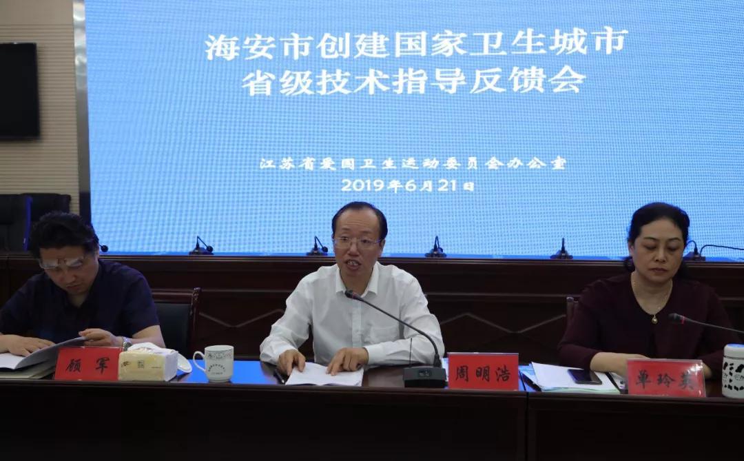 省级考评组指导海安市创建国家卫生城市工作