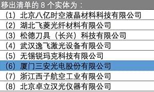 三安光电被移出美国出口管制清单
