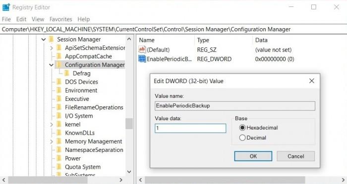 如何手动启用Windows 10注册表自动备份功能的照片 - 2