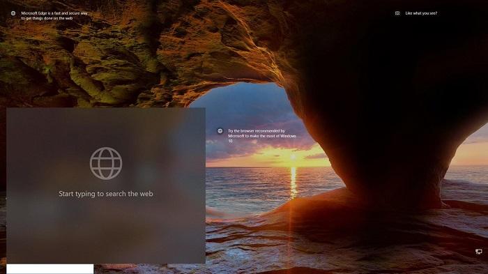 微软尝试为Win10锁屏界面加入必应搜索框的照片