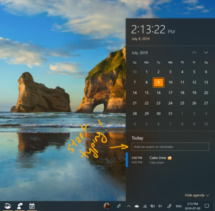 Win10 Build 18936发布:任务栏可快速创建日历项的照片 - 2