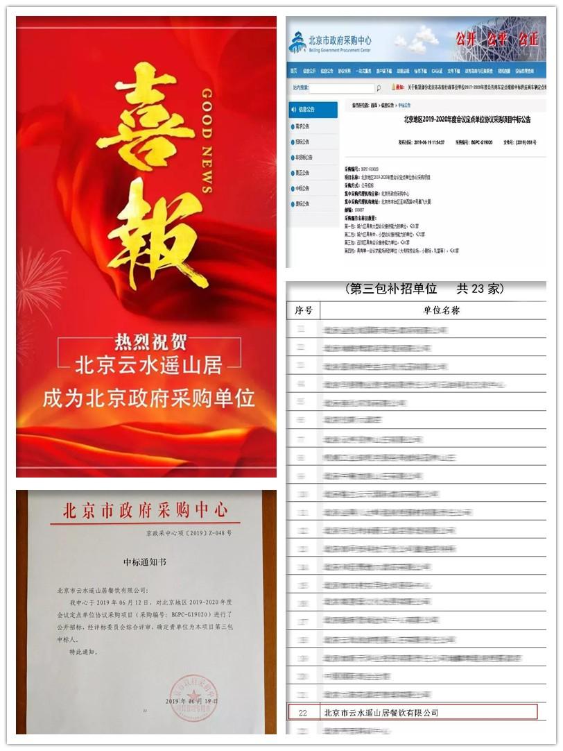 热烈祝贺【北京云水遥山居】喜中2019年政府采购单位