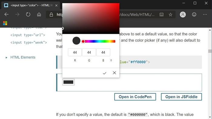 微软Edge Canary迎来更加现代的颜色选择器的照片 - 3