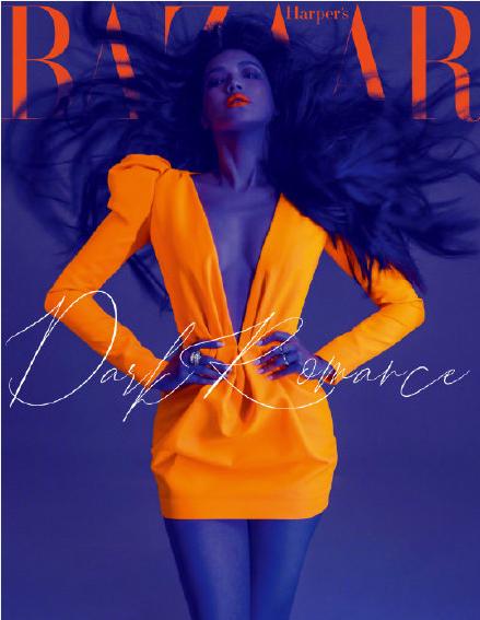 舒淇登杂志封面 紫色皮肤配荧光橘裙长发飞扬似梅超风