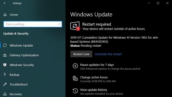 微软发布KB4508433 修复Win10 1903的系统更新问题的照片 - 1