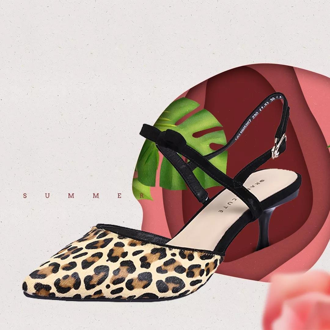 新款豹纹凉鞋