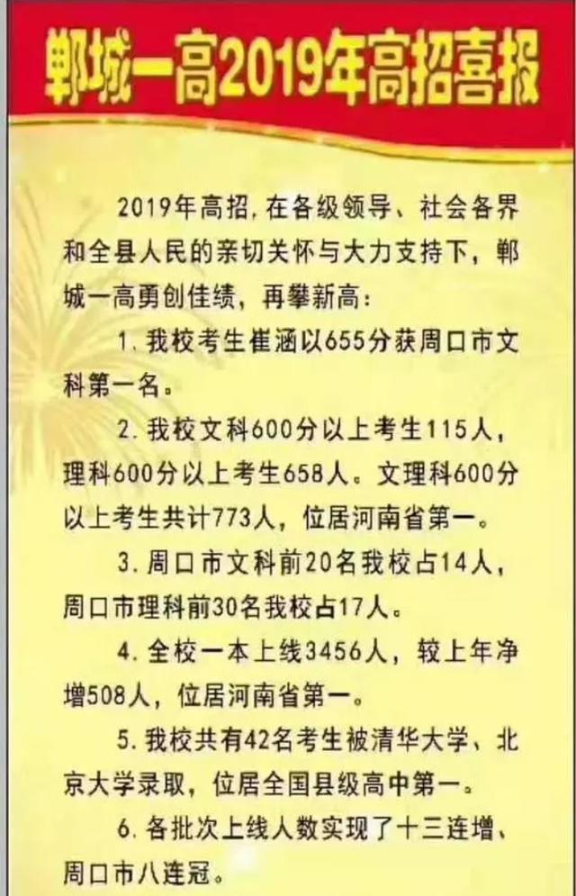 郸城一高2019高考成绩喜人,43人被清华北大录取