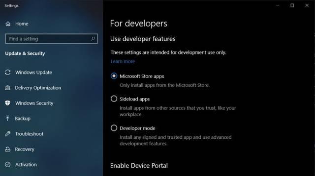 Win10 20H1功能更新将默认启用旁加载功能