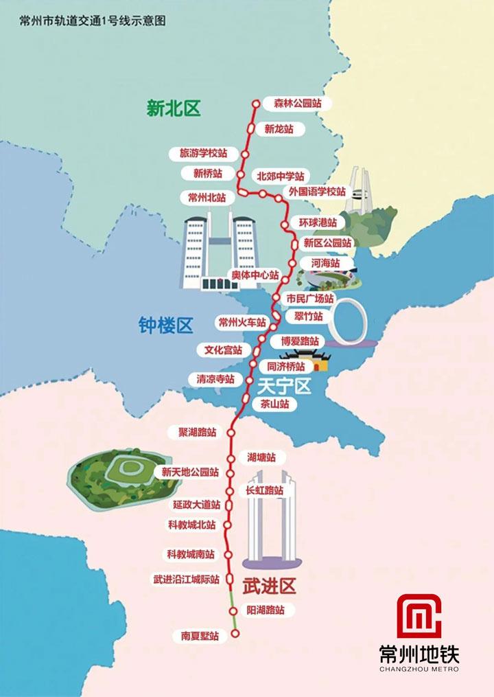常州地铁一号线:常州地铁1号线示意图(高清版)