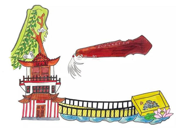 """手绘溧阳:用溧阳的美景和美食拼成""""智、信、礼、义、仁"""""""