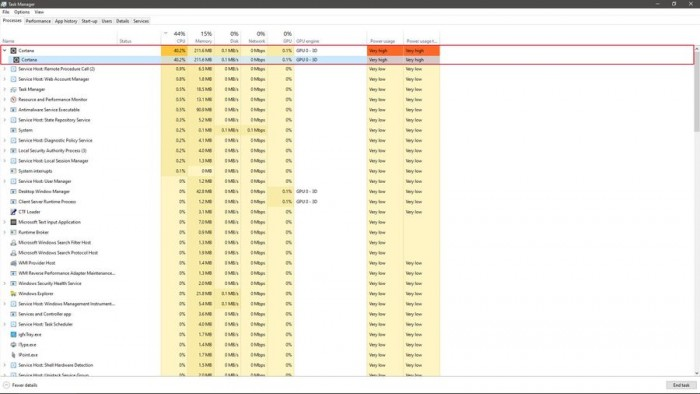 Win10再遇尴尬:Cortana进程CPU占用率高达40%的照片 - 2