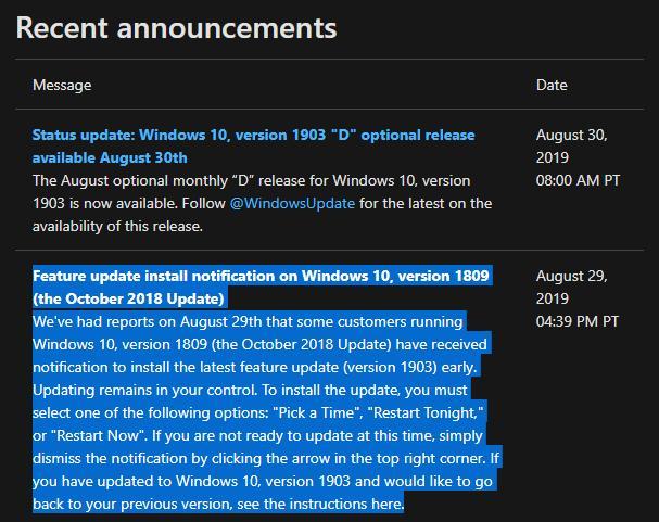 微软证实一些Win10 1809用户提前收到了1903更新的照片 - 2