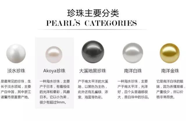 白珍珠、金珍珠、黑珍珠、粉珍珠