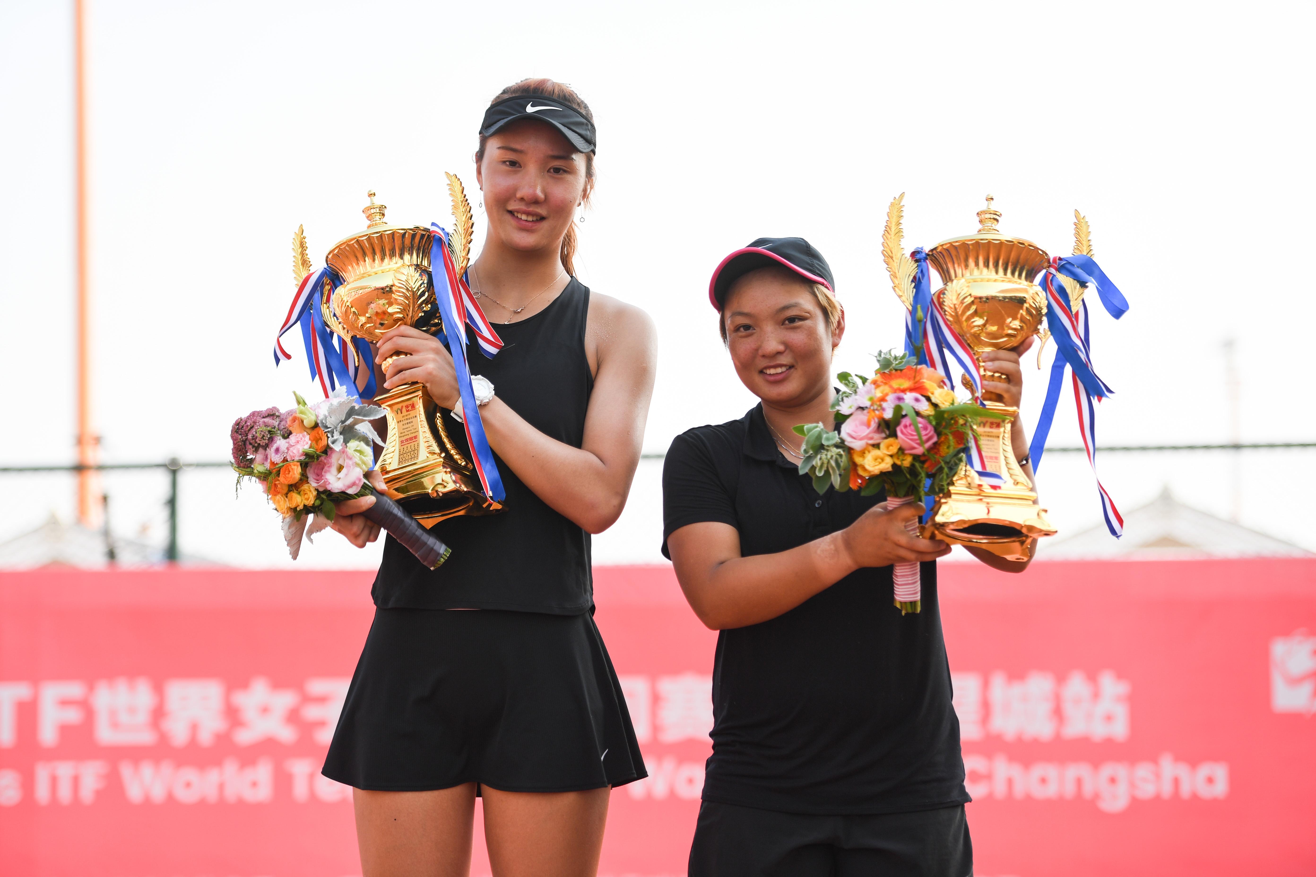 网球——2019ITF世界女子网球巡回赛·长沙望城站:蒋欣玗/汤千慧夺得女双冠军