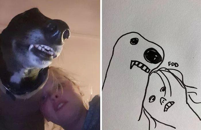 灵魂画手描绘出自家狗子的神韵,画的莫不是条假狗?