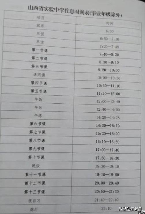"""019太原热门高中作息时间表(含山大附中、五中、省实验等)"""""""