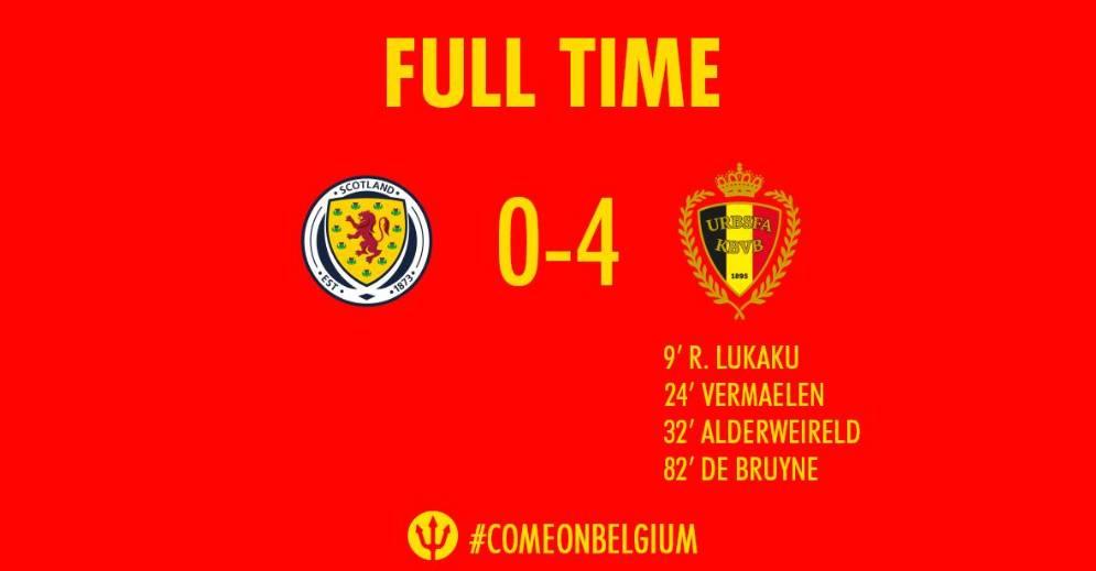 欧预赛-卢卡库传射丁丁造四球比利时4-0苏格兰