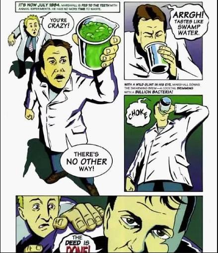 马歇尔医生勇敢吞细菌培养液的小漫画