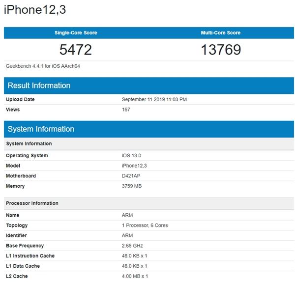 iPhone11GeekBench跑分曝光,秒杀安卓无压力?