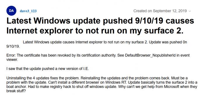 微软KB4516067补丁再出问题 令Surface上的IE无法工作的照片 - 2