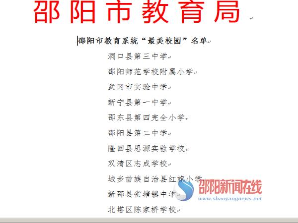 """北塔区陈家桥学校被评为邵阳市""""最美校园"""""""