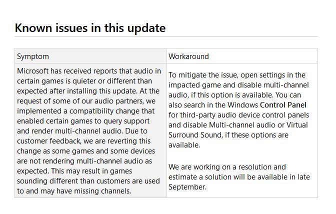 微软承认KB4515384存在音频问题:提供临时解决方案的照片 - 2