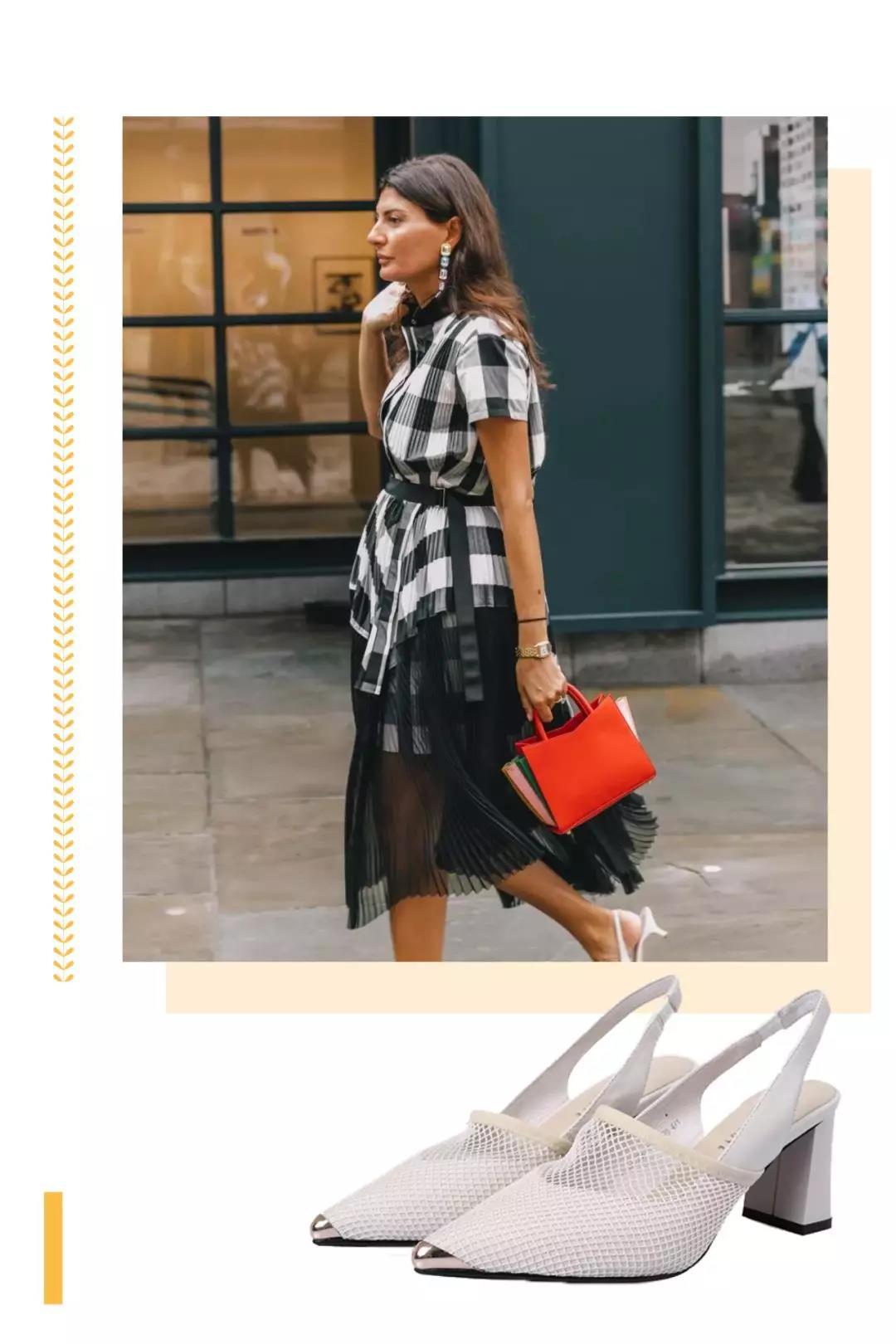 衬衫裙搭配羊皮网面SlingBack凉鞋