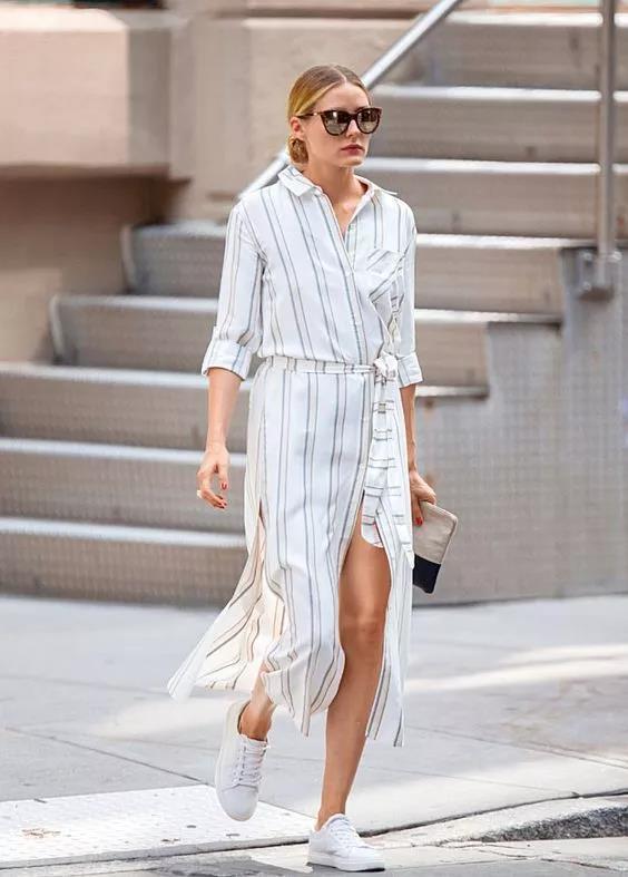 长款白色衬衫裙