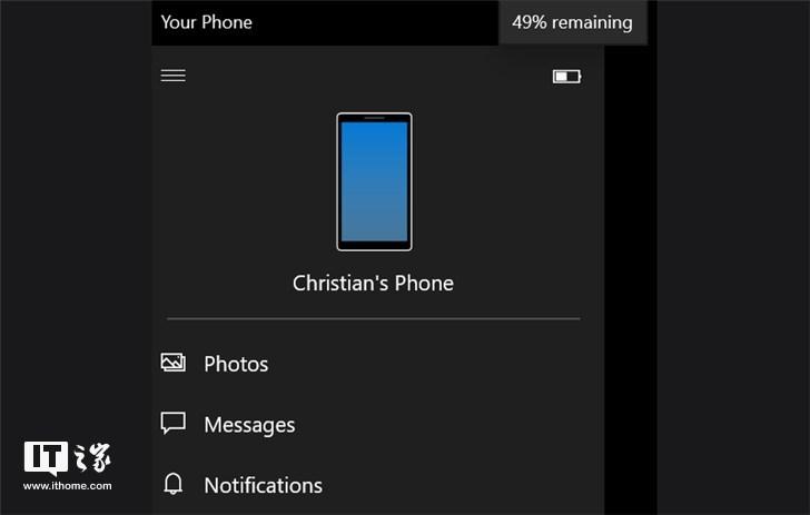微软Windows10你的手机App更新,支持显示安卓手机电量