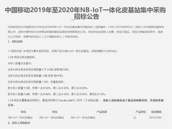 中国移动启动NB-IoT一体化皮基站集采:采购规模约为28566台