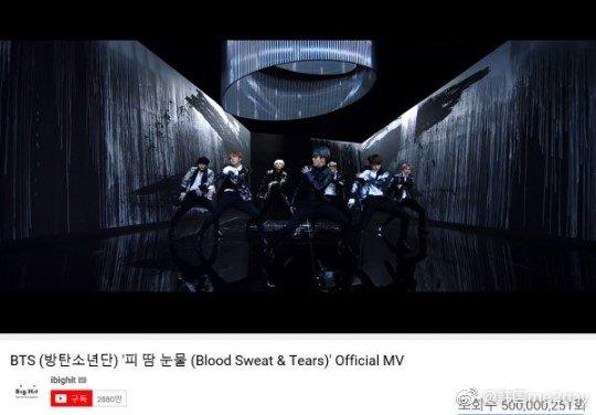 防弹少年团《BloodSweat&Tears》MV点击量突破5亿次!!