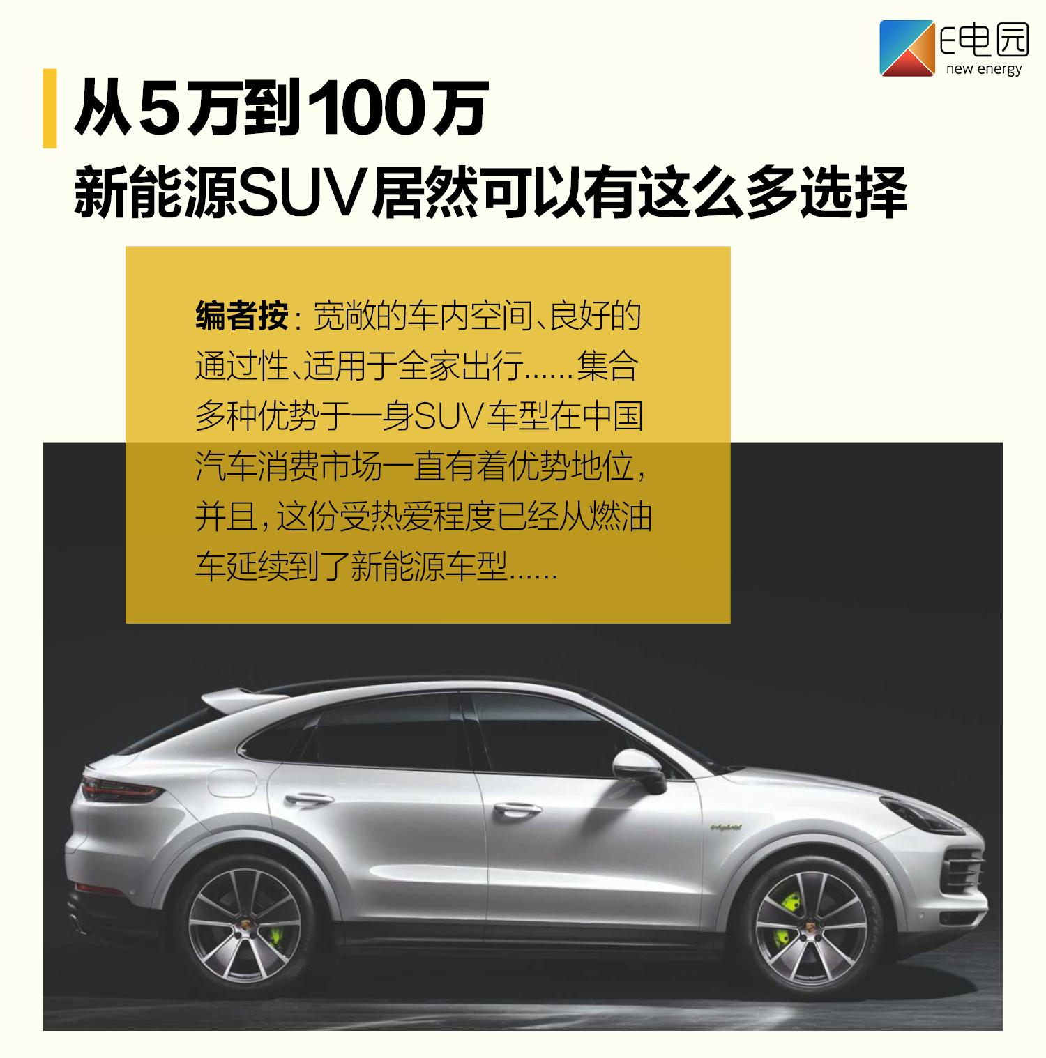 5万到100万 新能源SUV值得入手的车型