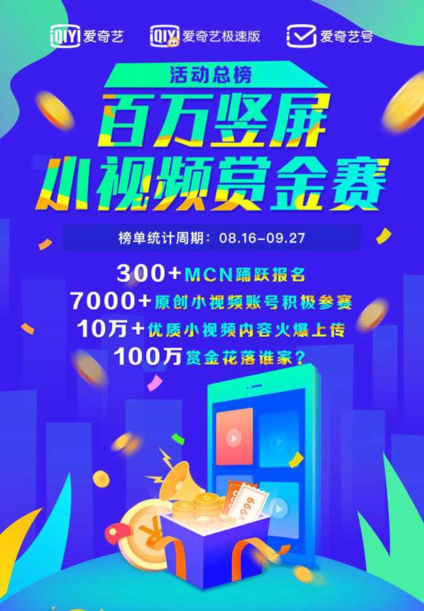 MCN +原创+多种支持,爱奇艺百万垂直屏小视频赏金大赛成功结束