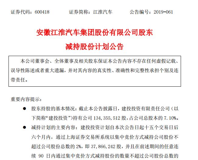江淮汽車第二大股東計劃減持不超過2%股份