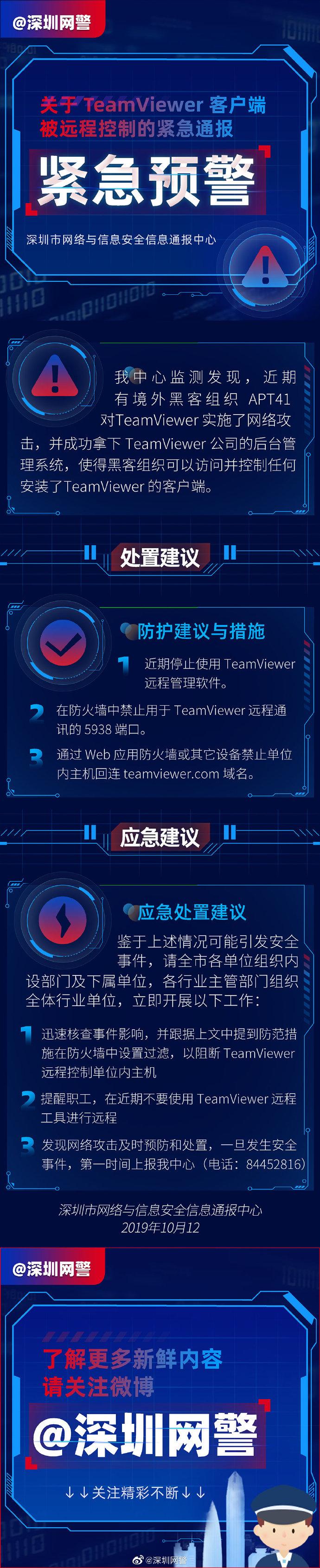 深圳网警紧急通报:TeamViewer客户端被黑客远程控制的照片 - 2