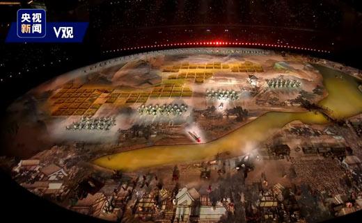 真人版《清明上河图》亮相军运会开幕式,真是美轮美奂!