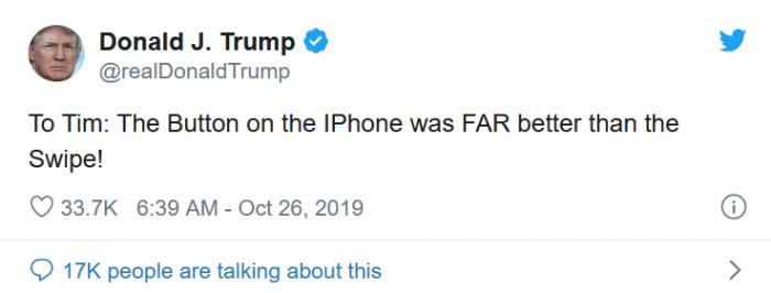 特朗普发推吐槽苹果最新的iPhone没有Home按钮不好用的照片 - 2