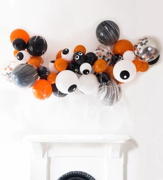 萬圣節氣球裝飾背景墻!絲帶氣球布置制作圖片大全