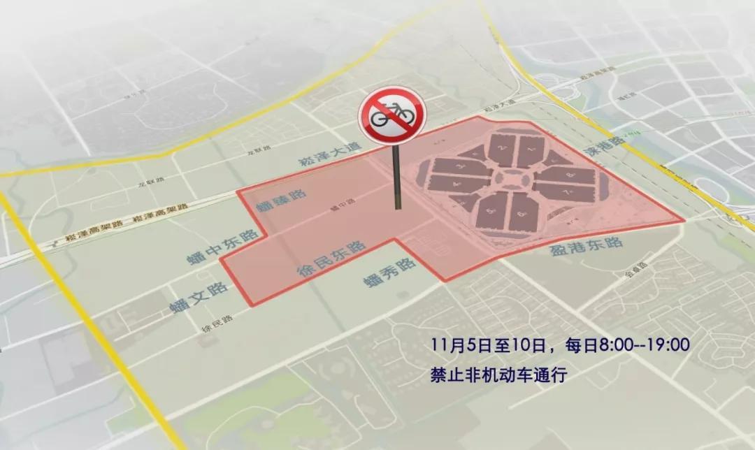 进博会交通管制,禁止非机动车通行