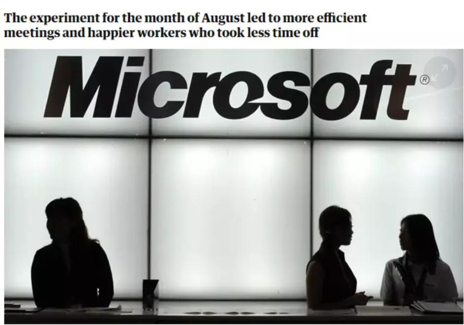一周只上4天班是什么体验?微软员工发现:效率提高了40%的照片 - 2