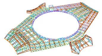 德州國際會展中心中央核心區屋蓋結構圖