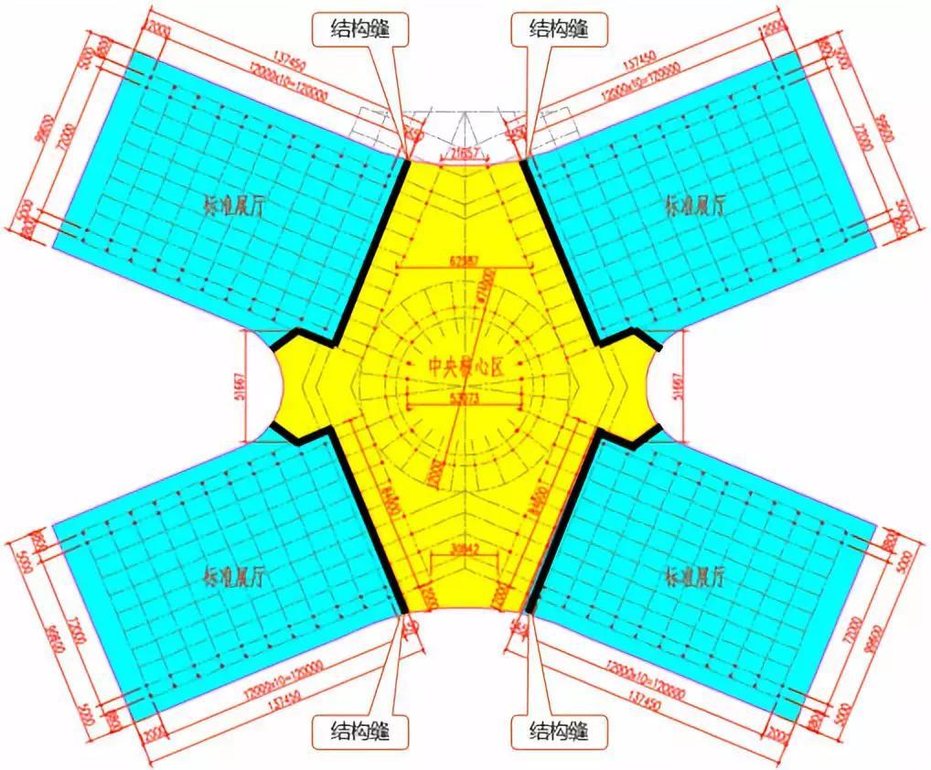 德州国际会展中心结构缝分布图