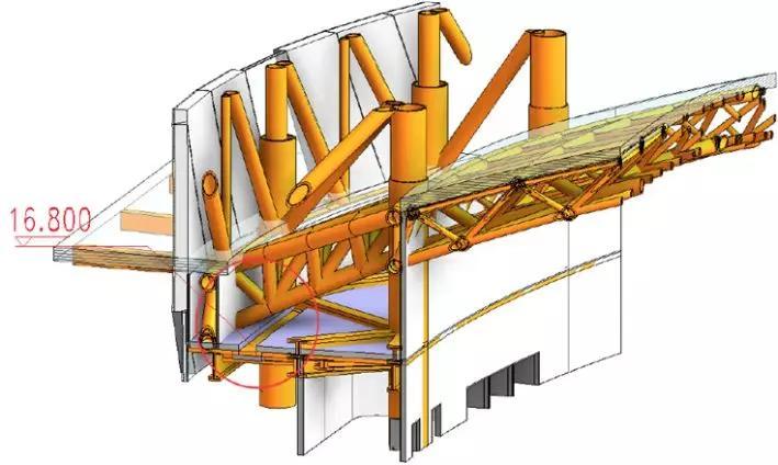 德州國際會展中心屋面桁架三維模型圖