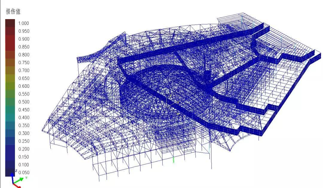 德州国际会展中心地震波下受压损伤分布图