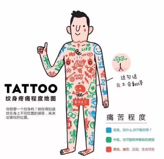 纹身疼痛分布图 纹身哪里最疼