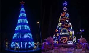 圣诞节圣诞树灯饰照明场景亮化