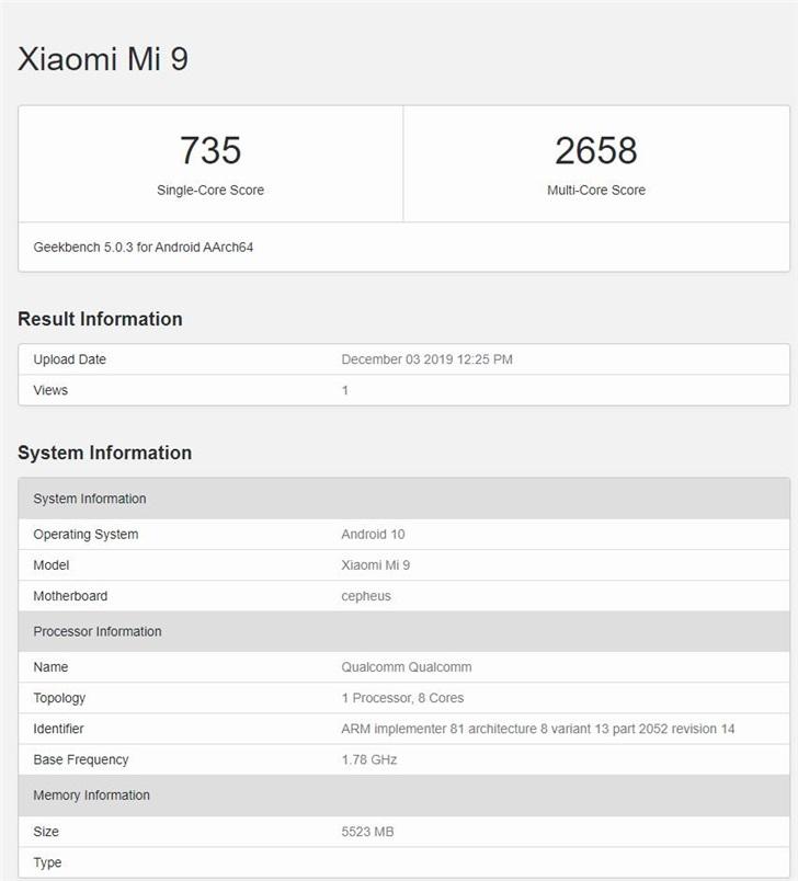 小米MIX 4現身GeekBench網站︰跑分接近驍龍855