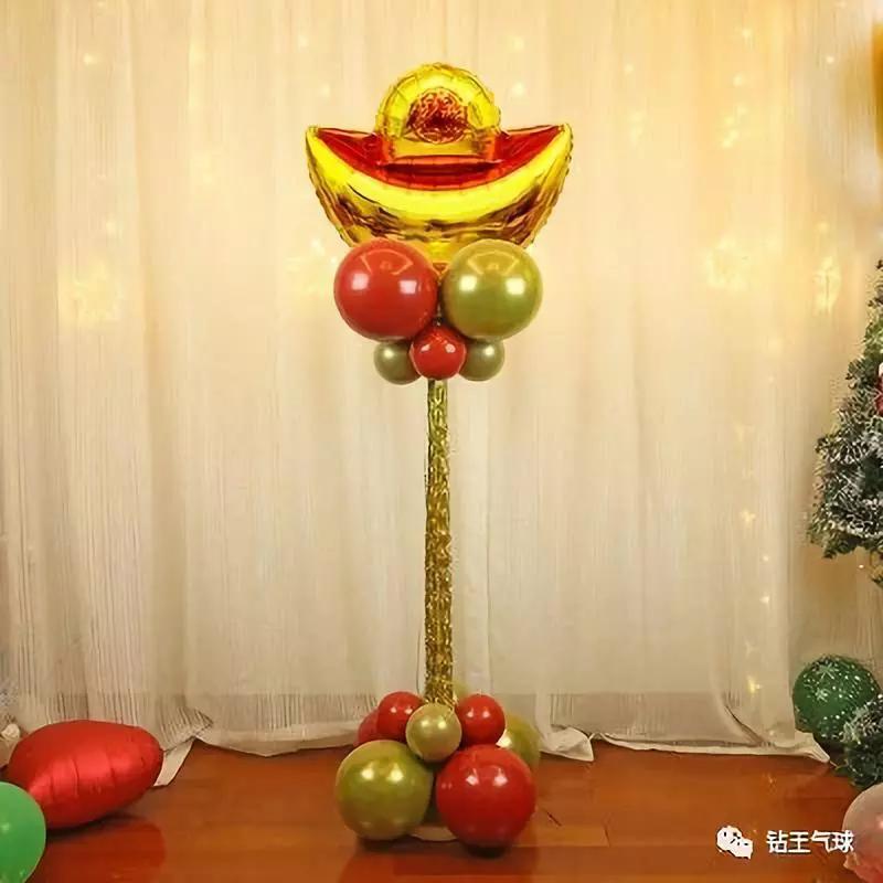 元旦氣球裝飾布置圖片!2020春節開業婚禮氣球立柱