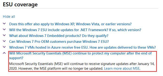 微软澄清:Win7停止支持后MSE将持续更新至2023年的照片 - 2